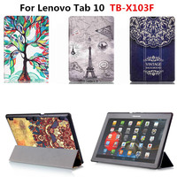 For Lenovo Tab 10 TB X103F X103F 10 1 Tablet Colorful Print PU Leather Case Cover