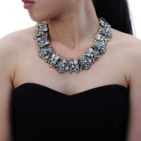 Vintage Retro Gold Chain Multicolor Glass Crystal Cluster Bib Statement Necklace