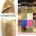 """16 """"-32"""" 100% 1 pcs Set Cabelo Remy Brasileiro Flip Em/sobre Extensões de Cabelo Humano de Halo cabelo #18/613 cor da mistura 80g-220g"""