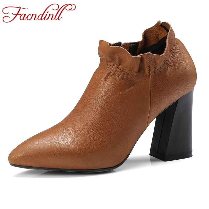 FACNDINLL shoes 2018 new spring autumn women ankle boots high heels pointed toe black brown woman dress party casual short boots facndinll women ankle boots new fashion autumn winter genuine leather high heels lace up shoes woman dress party short boots