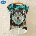 Machine Wolf Printed Women 's Short Sleeve T - Shirt Loose Huskies Animals Cartoon Polygon SEA MAO