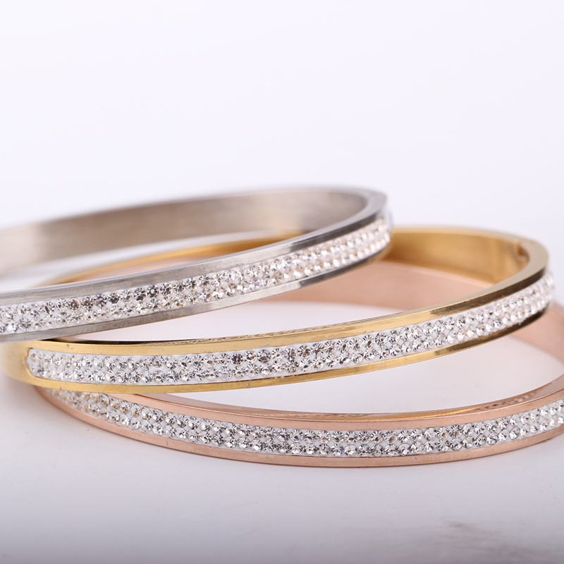 3 Colors Jewelry Rose Gold Silver Two Row Crystal Rhinestone Pave Stainless Steel Bracelets Bangles for Women Girl Gifts