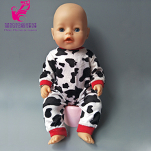 Doll cute cows set for 43cm Baby new Born Doll clothes Suit for 18 inch Accessories