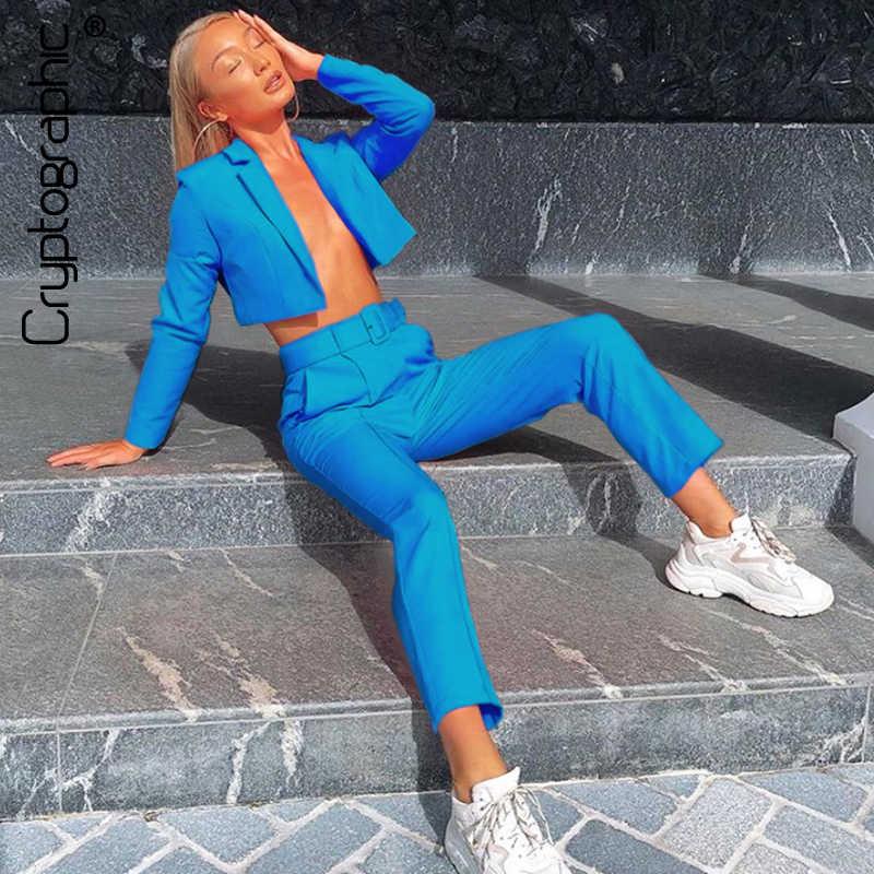 Kriptografi Neon Fashion Blazer Jas dan Celana Set Wanita Musim Gugur Mantel Lebih Tahan Dr Yang Sesuai dengan Set Pinggang Tinggi Celana Streetwear