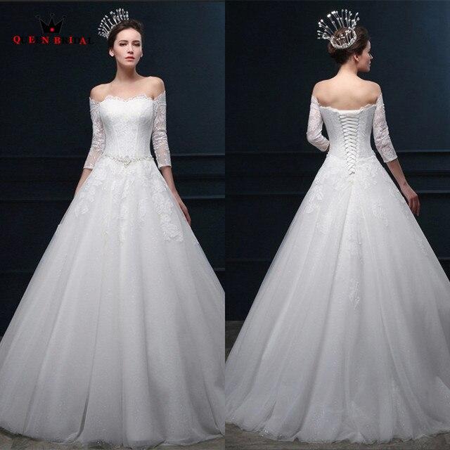 595f364f2 مخصص أنيقة فساتين زفاف 2018 خط 3 4 كم الرباط كريستال طويل رسمي ثوب الزفاف  vestido