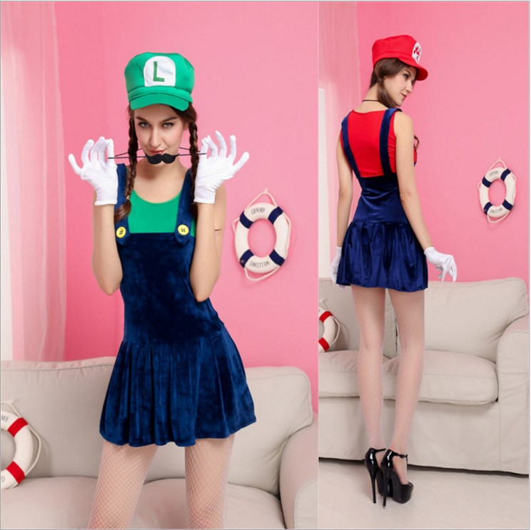 New Red Green Adult Cartoon Super Mario Costume Sexy Plumber