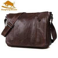 100% Genuine Leather Men bag men messenger bags mens leather crossbody bags men's travel bag Shoulder