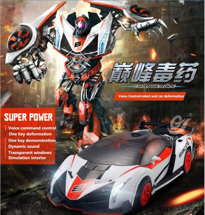 JiaQI 2016 new deformation vehicle TT681 rc car 2.4Gh voice Remote Control racing car One key deformation between robot and car