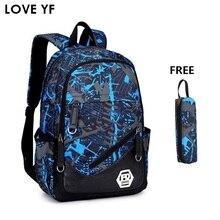 299a0bc067e51 Gençler Okul Çantaları Kalem Kutusu kombinasyonu Yüksek Okul Öğrencileri  Laptop Sırt su geçirmez seyahat sırt çantası