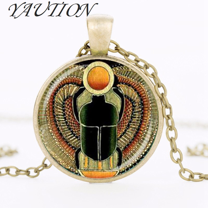 YAUTION 2018 Symbol of Strength Egyptian Scarab Glass Dome Ps