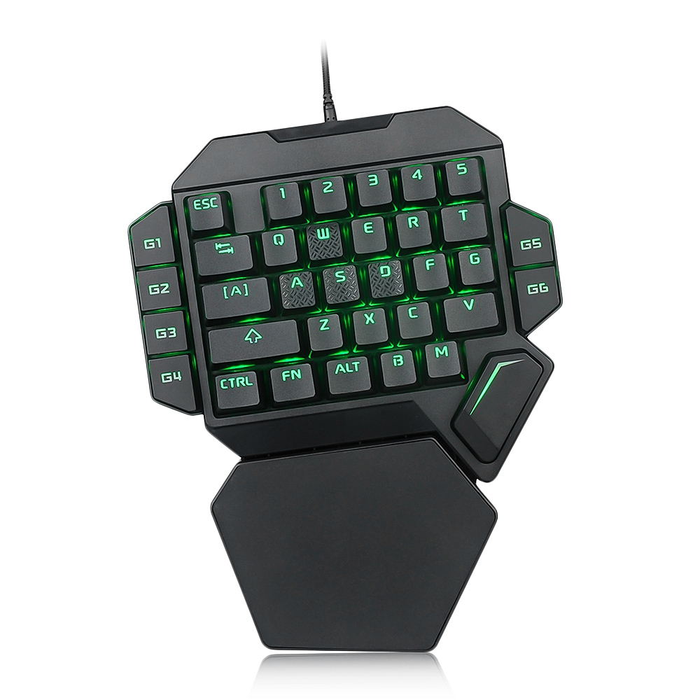 Reebeen 35 keys Game Keyboard K50 RGB Wired Gaming Keypad One handed Blue Switch Mechanical Keyboard Macro Definition Keyboard