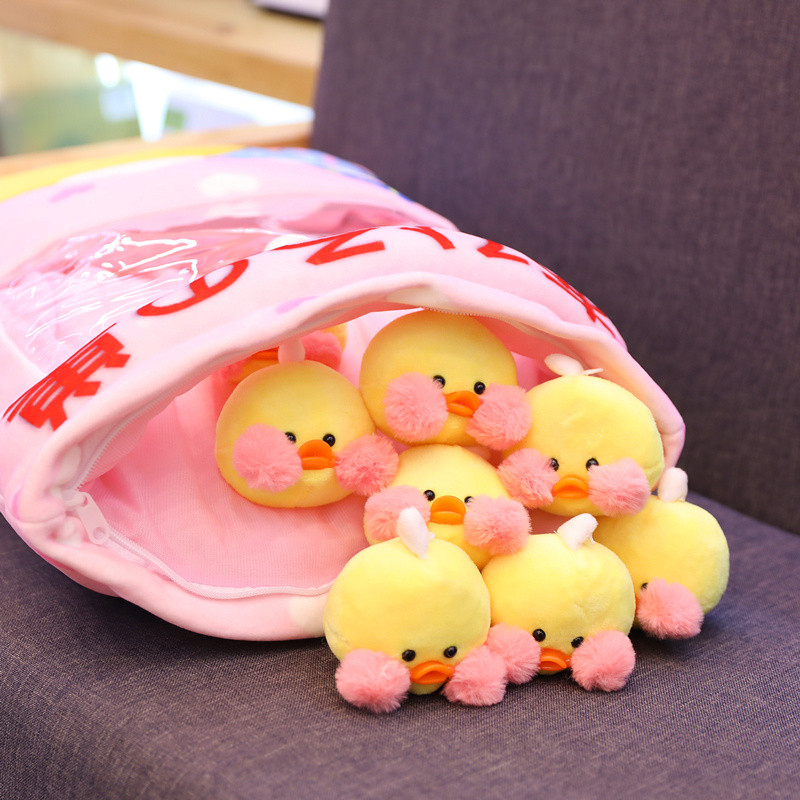A Bag Of Yellow Duck Plush Pillow Kawaii Cafe Mimi Lalafanfan Soft Stuffed Rabbit Dolls Creative Kids Toys Girls Christmas Gifts
