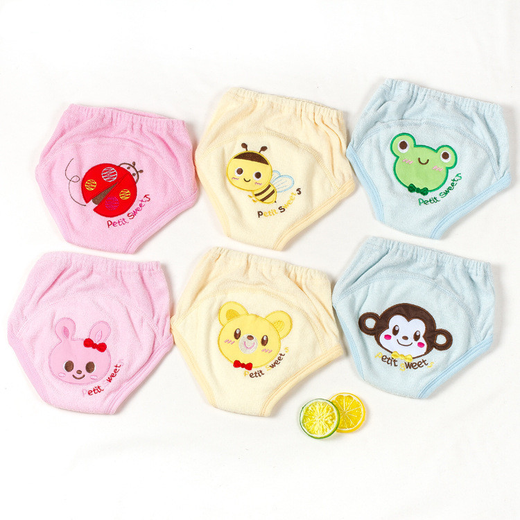 Baby Reusable Diapers Washable Panties For Potty Training Pants Toddler Girls Boys Cartoon Embroidery Cloth Diaper Nappies 2Pcs