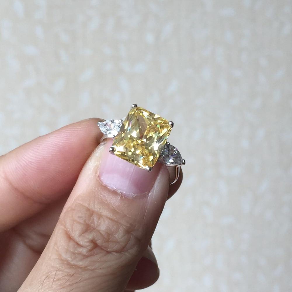 Bague de fiançailles en argent massif zircon cubique couleur argent CZ bague en pierre bijoux pour femmes anel vente en gros - 5