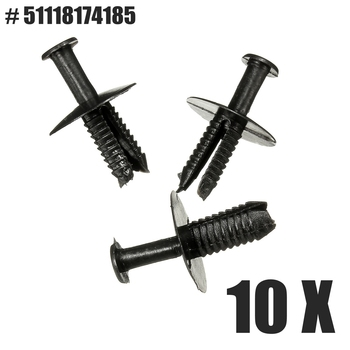 Brand New For BMW 528i X5 10 x Black Nylon Fastener Bumper Rivet Retainer Trim Clips 51118174185 1997-2011 image