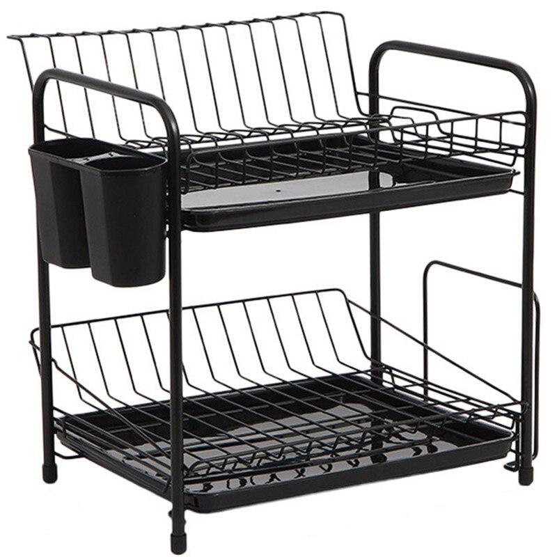 Practical Boutique Dish Rack Set 2-Tier Kitchen Organizer Tools Plate Spoon Storage Frame Steel Drain Bowl Rack Kitchen Dish S