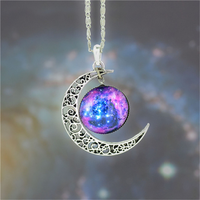 Fashion Necklace Glass Cabochon Moon Chain