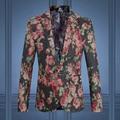 2016 vestido de hombre Blazers y chaquetas de traje traje chaqueta de la capa hombres de moda Casual Slim Fit gran tamaño de flores vestido traje chaqueta M-5XL