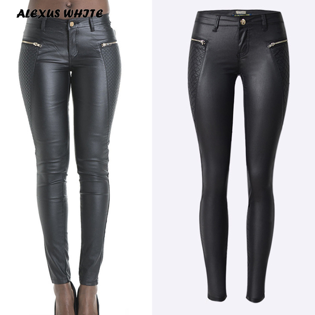 Pop Low Waist Pencil Pants Women Autumn 2018 Zipper Leather Pantalon Fashion Ladies PU Skinny Trousers