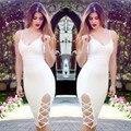Blanco Vestido Del Vendaje Del Rayón 2016 Nuevas Llegadas V Cuello Correa de Espagueti Vestido de Verano Las Mujeres Side Dividir Vestidos Al Por Mayor HL