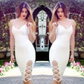 White Bandage Dress Rayon 2016 New Arrivals V Neck Spaghetti Strap Dress Summer Women Side Split Dresses Wholesale HL