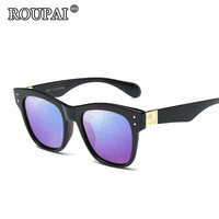 ROUPAI Brand 2017 Latest Trends Men Women Polarized Sunglasses Vintage Print Coating Mirror Sun Glasses Female
