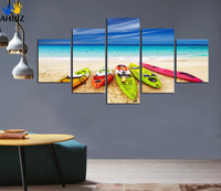 Mediterranean Style Canvas Painting Sea Yacht Scenery Picture Decorate The Living Room Kitchen Art Wall Free