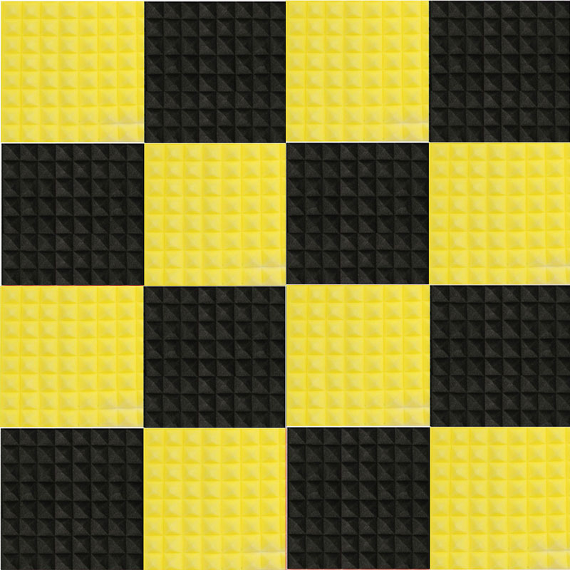 NK DECORATION 12pcs/set Black+Yellow 500mm x 500mm x 50mm Acoustic Soundproof Sound Stop Absorption Pyramid Studio Foam