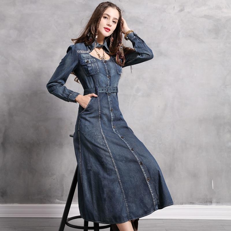 Robes Femmes Turn Robe Slim Collar Denim Manches Automne Bleu Longues Ceinturé Fit Pocket Broderie Down Printemps Vintage 2019 SAnpBwaqS