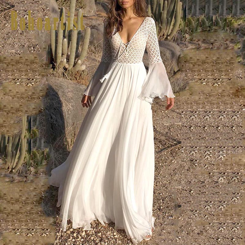 Bohoartist Women Sexy Dress Long Flare Sleeve V Neck White Tassel Hollow Boho Lace Maxi Dress Holiday Chic Autumn Female Dresses