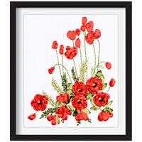 DIY Вышивка ленты цветы декоративные картины рукоделие вышивка крестиком наборы для начинающих Вышивание ремесла домашний декор C-0313