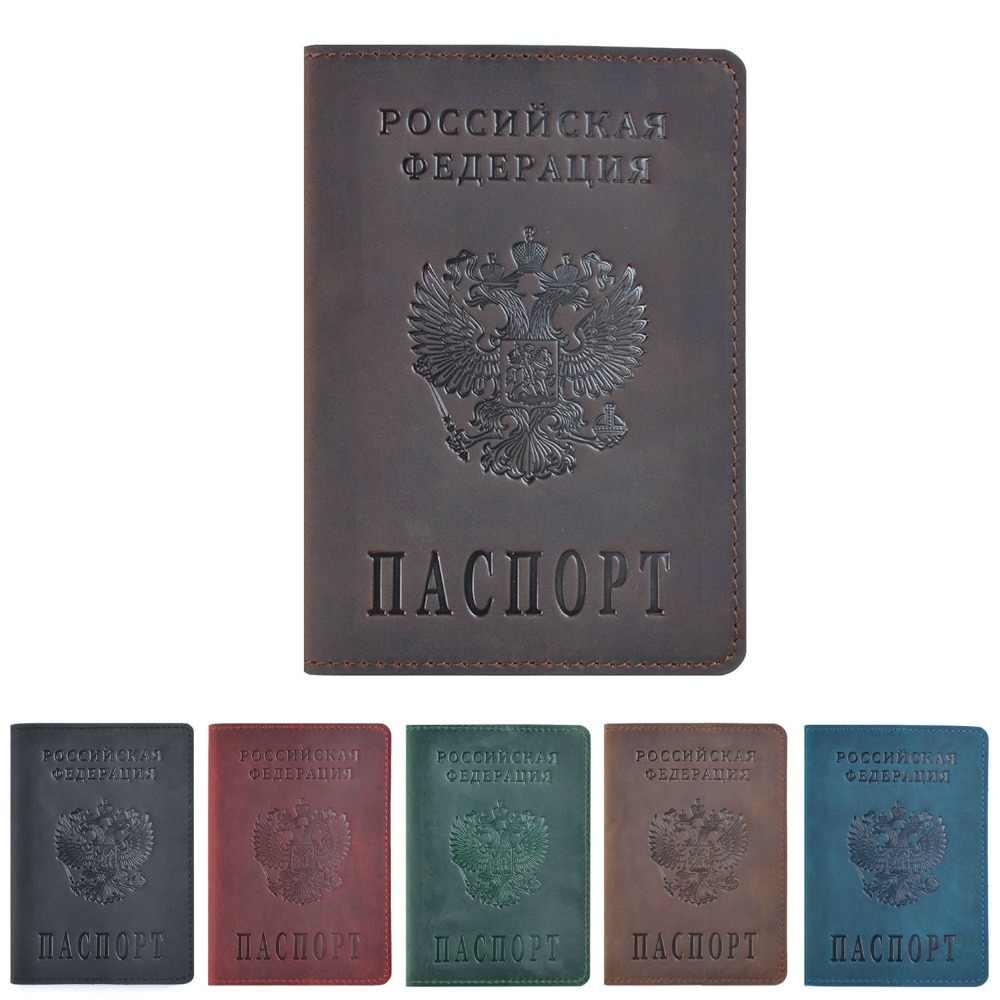 GENODERN русская Обложка на паспорт для поездок кошелек из натуральной кожи Crazy Horse Обложка для паспорта для мужчин и женщин Обложка для паспорта чехол