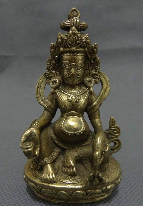 Free Shipping Folk Chinese Brass Buddhist Wealth Yellow Jambhala Buddha Statue Tibet Joss Set