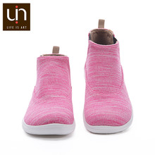 UIN Tengwu Series Warm Knitted Boots Women Autumn/Winter Ankle Boots Slip-on Casual Flat Shoes Ladies Pink/Grey Color(China)