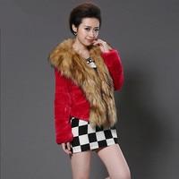 2018 New Winter Raccoon Fur Collar Faux Fur Coat N1