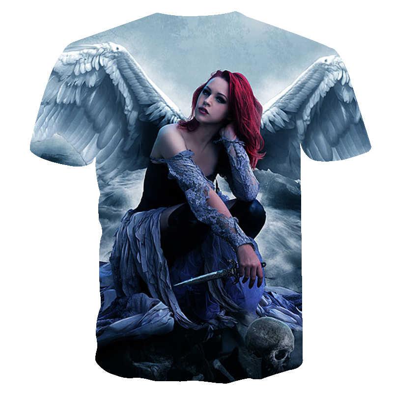 2018, Мужская футболка, дух аниме, вода, 3d, ангел, футболка с принтом, унисекс-взрослая, хипстерские 3D футболки, уличная хип-хоп футболка, топы, футболки