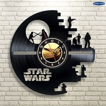 Free Shipping 1 Piece Decorative Clocks Star Wars Droid Vintage LP Vinyl Record Clock Creative CD Suspended Watches
