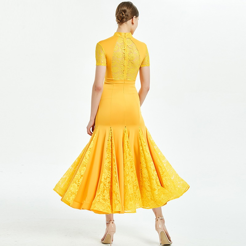Ballroom Dress Women Standard Dance Dresses Fringe Waltz Dress Standard Costumes Dance Wear Luminous Costumes Yelllow Lace