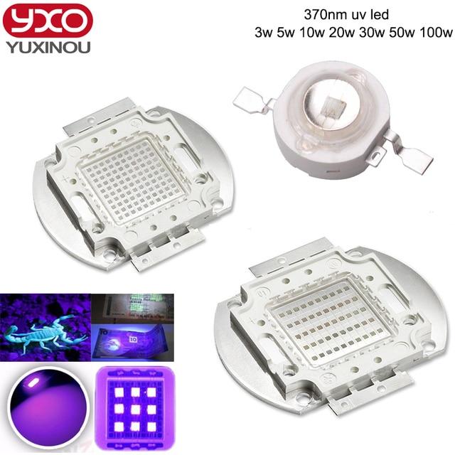 High Power LED Chip UV LED 370nm Lamp 3W 5W 10W 20W 30W 50W 100W 120W 150W 200W Ultraviolet Purple Epileds COB LED Beads