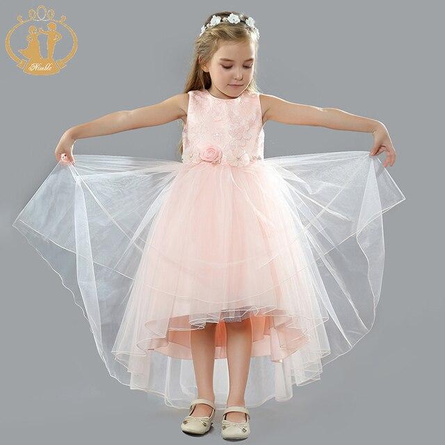 7c46a04d5 Ágil vestido de las niñas de flores de Organza Jacquard cola vestido de princesa  para las