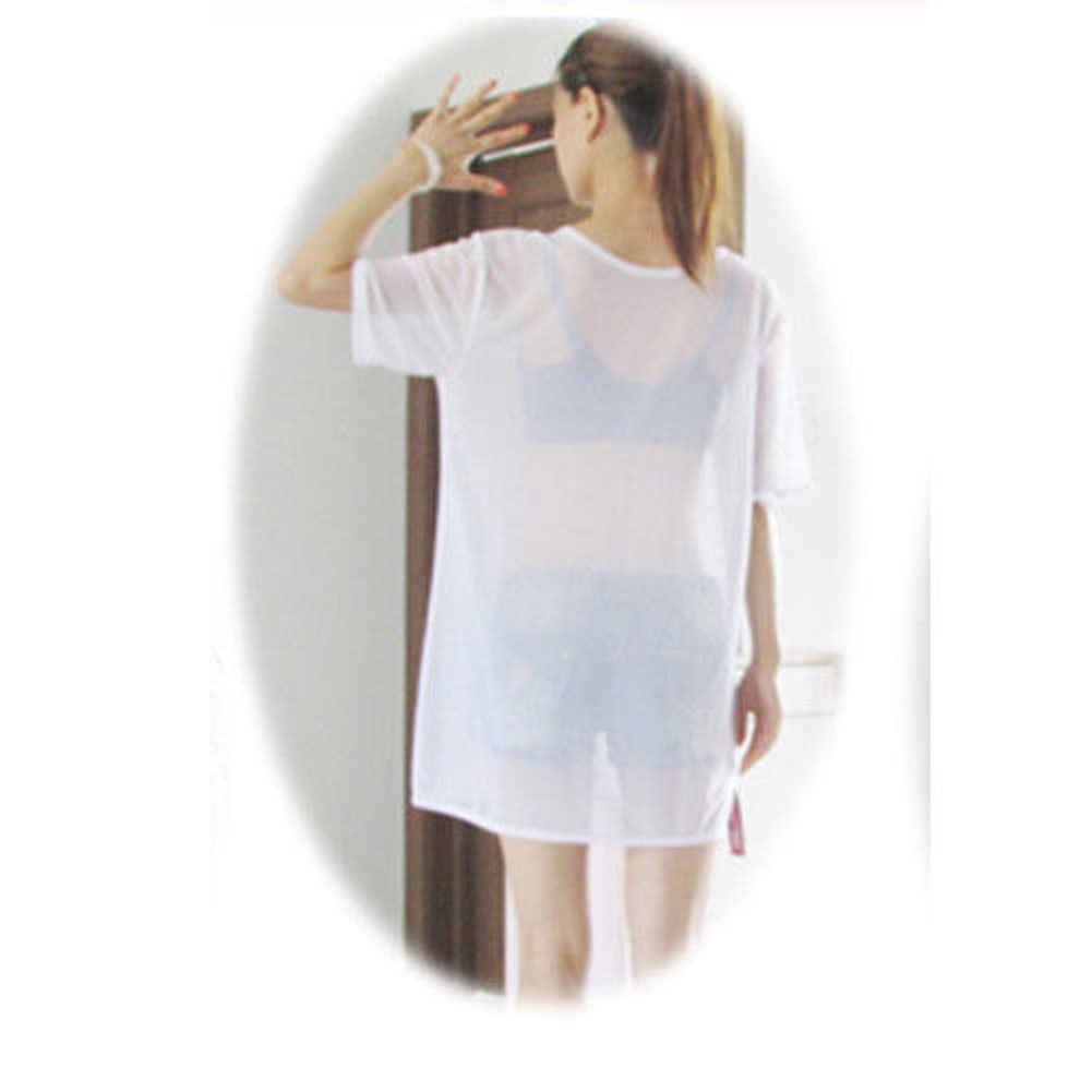 Thefound nuevo Sexy mujer chica malla transparente perspectiva ver-a través de gran tamaño de manga corta blusa transparente vestido