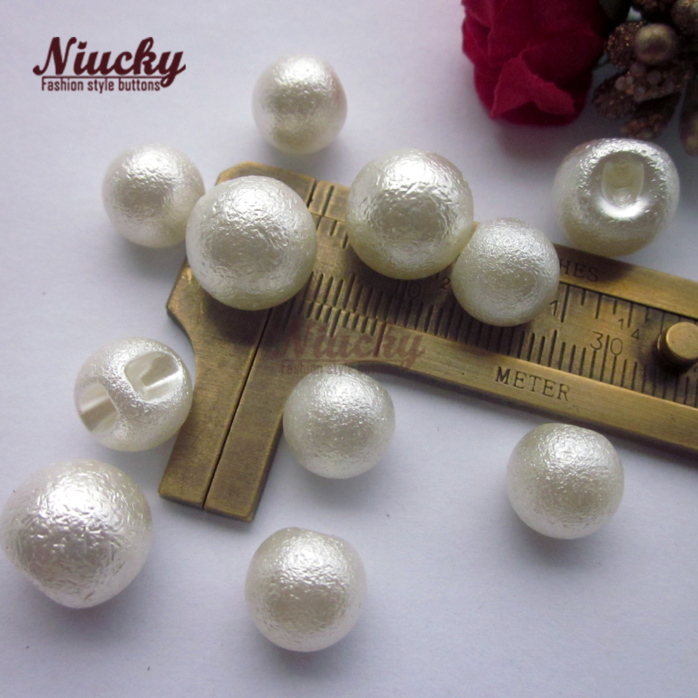 Niucky 10mm/ 12mm Eco-friendly Wrinkles imitation pearl blouse buttons for clothing wedding dress decorative buttons P0301-049