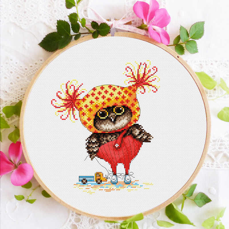 Merek Owl bayi cross stitch kit DMC thread count hewan anjing kanvas kain bordir handmade needlework kerajinan persediaan