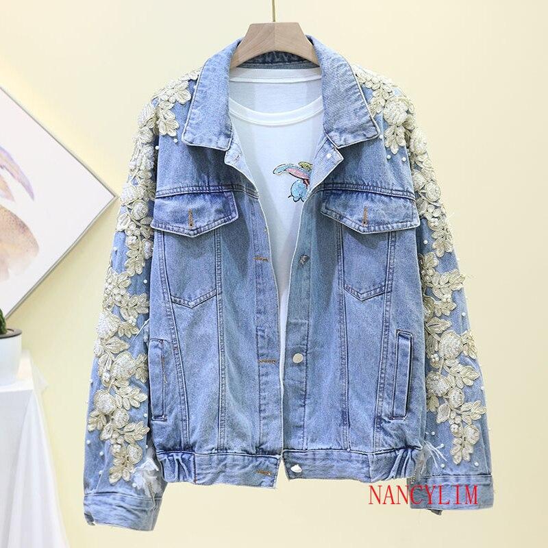 2020 New Fall Heavy Industries Embroidery Nail Bead Denim Jacket Female Loose Leisure Jeans Jackets Outwear Womens Streetwear