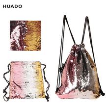 Drawstring Bags backpack Double Color Sequins Portable Travel Drawstring Backpack welcome drop shipping