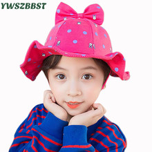 New Summer Outdoor Baby Girls Sun Cap Rabbit Bowknot Children Bucket Hats Autumn Hat Kids Beach Brim for