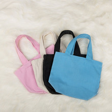 1Pc Women Foldable Shopping Bags Outdoor Picnic Bag Pure Color Cotton Canvas Pouch Reusable Eco Lunch Container