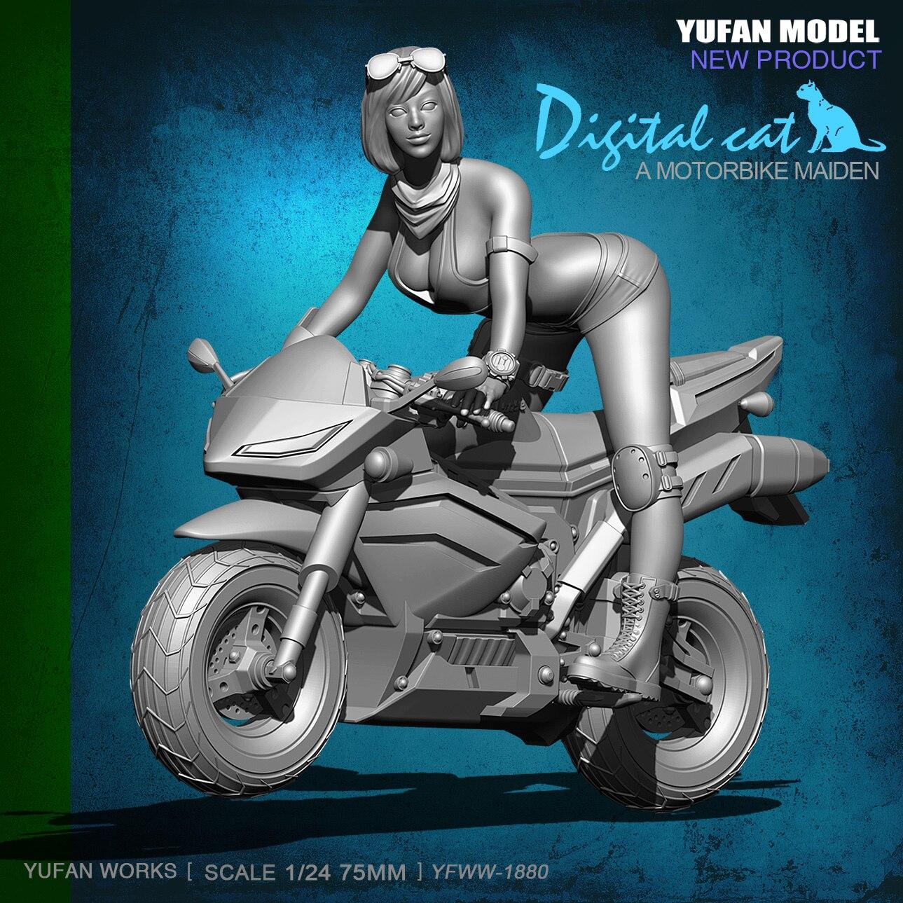 1/24 75mm piękny e bike żywicy kobiet żołnierz z motocykl YFWW 1880 w Zestawy modelarskie od Zabawki i hobby na  Grupa 1