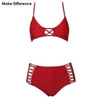 Làm cho Sự Khác Biệt Cao Eo Bikini Set 2017 Phụ Nữ Swimwear Hồ Tắm Suits Sexy Bandage Two Pieces Red Đồ Tắm