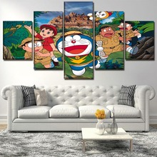 Canvas Wall Art Picture Home Decor Children Room Framework 5 Piece Anime Doraemon Painting HD Print Field Explore Forest Poster